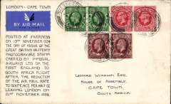 (GB External) First acceptance of mail for South Africa at the new 6d Flat Rate, Inverness to Cape Town, bs 30/11, addressed to L.A. Wyndham, House of Assembly, Cape Town, ALSO franked 6d including FDI  KGV 1/2d photogravure x 2 postmarked day of issue, neat hand written script describing the cover on lh side. Uncon=mmon and a nice one for the exhibit. Image.