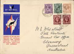 (GB External) London to Cloncurry, bs 20/12, carried on F/F extension of London-Singapore service to Australia, red/white/blue souvenir Imperial Airways/Qantas cover addressed to Wheatcroft and correctly rated 1/3d, canc nice strikes x3 Croydon Aerodrome cds. Image.