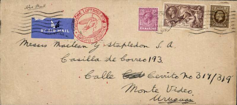 (GB External) London to Uruguay, bs Montevideo 28/10, 'Marine' Insurance company cover, 10x20cm, correctly rated 4/- (2/6d sea horse, 1/- and 6d, for 'All Air' carriage by DLH South Atlantic air service, fine strike red circular 'Deutsche Luftpost/Europa-Sudamerika' hs. Image.