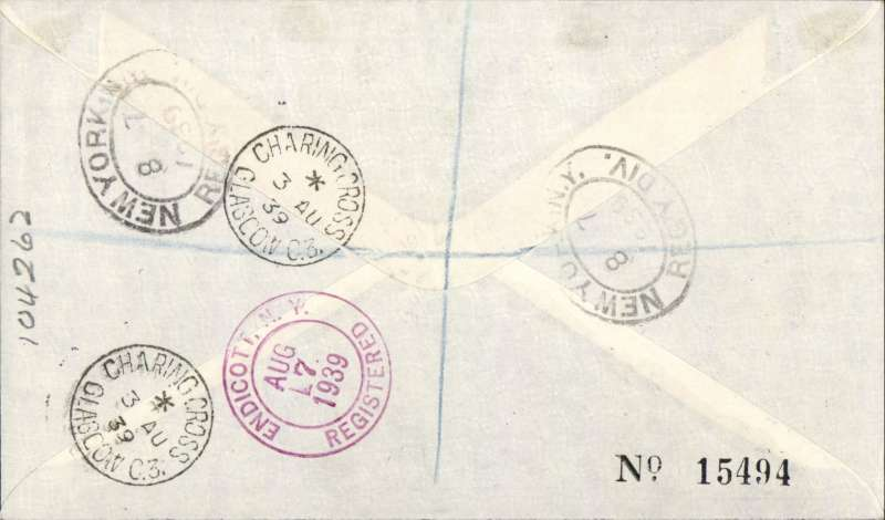 (GB External) Imperial Airways first Northern trans Atlantic flight Southampton to New York, bs 6/8, plain cover franked 1/3d Image.