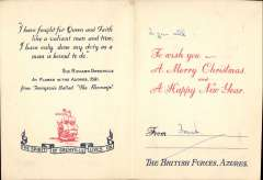 (Ephemera) The British Forces, Azores 1944, a beautiful Christmas and New Year card containing a commemoration in memory of Sir Richard Grenville  who died at the Battle of Flores in the Azores in 1591, fighting against overwhelming odds, and refusing to surrender his ship under attack from  53 Spanish war ships. See image.