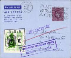 (GB Internal) Belfast to New York, mixed franking KG VI 6d air letter, posted on arrival in London canc Kensington 8 Dec/1951 airletter, also green/cream 6d BEA letter stamp with ms (+1) and 'To ms (London)'  tied by black framed 'BEA/ * Dec 1951/Belfast' hs (see Lister, p14). US violet 'Not Called For' and framed  'Undelivered for Reason Stated/Return to Sender' hs's. applied in New York. Rated 1/- overall, carried BEA to London then OAT to New York, then returned to sender. An interesting one for the exhibit. Image.