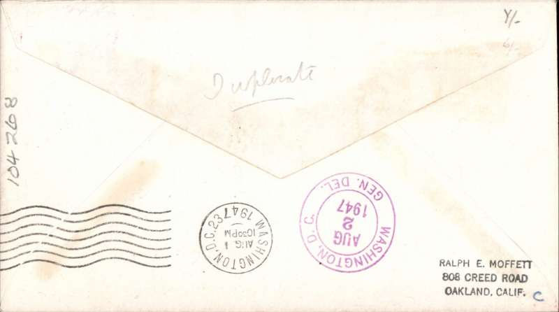 (Bermuda) Colonial Airlines. first Scheduled Flight  Hamilton to Washington, bs 1/8, violet rectangular cachet. Image.
