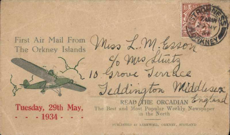 (GB Internal) Orcadian envelope Type 1 'First Air Mail From/the Orkney Islands' advertising envelope produced by the Orcadian Newspaper flown on the Highland Airways first flight from Kirkwall to Inverness, franked 1 1/2d, canc Stromness 7.45am/29 MY/1934. Faint crumpling but, otherwise good. See image.