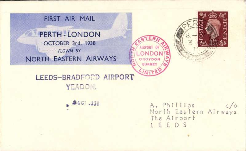 (GB Internal) North Eastern Airways, F/F Perth to Bradford, private 3/10 arrival ds, two line 'Leeds-Bradford Airport/Yeadon' receiver, plain cover franked 1 1/2d, Perth-London company vignette tied by black double ring company cachet 'North Eastern Airways Ltd'. More difficult to find. Image.
