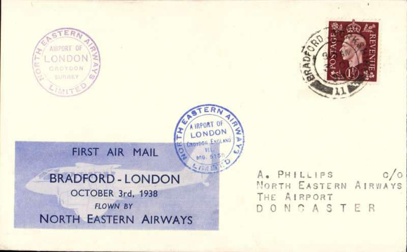 (GB Internal) North Eastern Airways, F/F Bradford to London, two Croydon circular receivers, one purple and one blue, plain cover franked 1 1/2d, Bradford-London company vignette tied by the blue  Croydon receiver,  'North Eastern Airways Ltd'. More difficult to find. Image..
