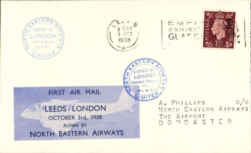 (GB Internal) North Eastern Airways, F/F Leeds to London, two blue Croydon circular receivers,  plain cover franked 1 1/2d, Leeds-London company vignette tied by the blue  Croydon receiver,  'North Eastern Airways Ltd'. Image..