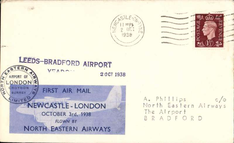 (GB Internal) North Eastern Airways, F/F Newcastle to Bradford, private 3/10 arrival ds, two line 'Leeds-Bradford Airport/Yeadon' receiver, plain cover franked 1 1/2d, Newcastle-London company vignette tied by black double ring company cachet 'North Eastern Airways Ltd'. More difficult to find. Image.