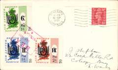 (GB Internal) Isles of Scilly to Penzance, GB KG VI 2 1/2d POA  canc Penzance 13/9 postmark, also franked British Air Letter Service 6d +1d, 11d +1d and 1/4d +2d hand stamp surcharge set of three, canc red framed 'BEA/Sep 1951/Scillies' hs, Image.