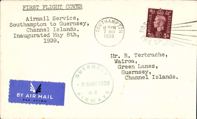 """(GB Internal) Guernsey Airways, F/F Southampton to Guernsey, typed five line """"Airmail Service/Southampton to Guernsey/Channel Islands/inaugurated May 8th/1939"""", green circular """"Guernsey Airways 8 May 1939"""" Type 5 receiver on front, plain etiquette cover franked 1 1/2d."""