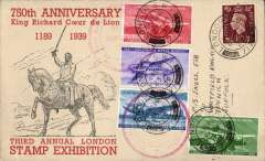 (GB Internal) Third Annual Stamp Expo London, souvenir cover with set of four special 'London Expo 1939' British Airliner vignettes tied by special red circular Expo hs. Image