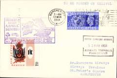 (GB Internal) F/F  Irish sea night air mail service, Belfast to Manchester, special cachet, arrival cds, franked with BEA 1/4d letter stamp, plain cover, POA, only 150 flown, Aer Lingus