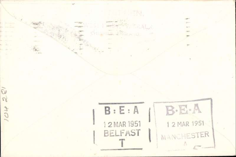 (GB Internal) F/F  Irish sea night air mail service, Belfast to Manchester, special cachet, arrival cds, franked with BEA 6d letter stamp, plain cover, POA, only 150 flown, Aer Lingus