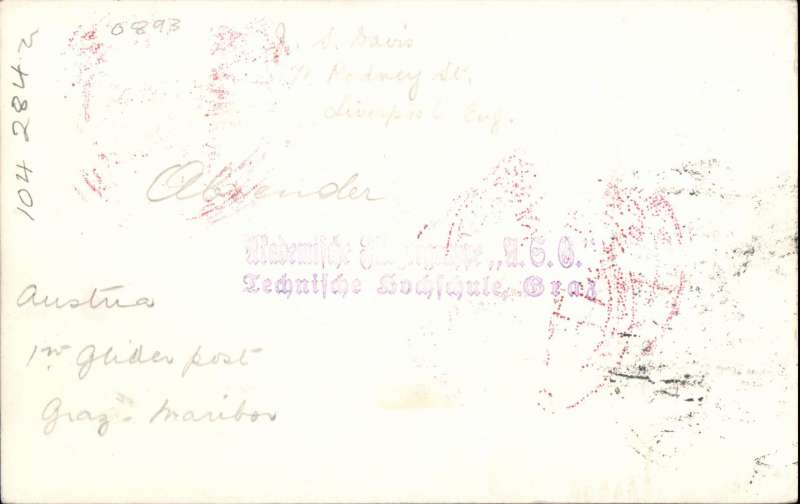 (Austria) F/F Graz to Maribor glider, card franked 80g with 1926 airs to 25g canc Graz cds and fine strike red circular special cachet tying 1928 Mit Flugpost etiquette rated very scarce (Mair), also  red triangular flight cachet, Image.