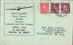 """(Australia) Wartime airmail, first regular Sydney-Auckland airmail, bs Christcurch 3/5, carried """"per flying boats """"Aotearoa"""" and """"Awarua"""", blue/grey TEAL souvenir cover,  correctly franked 5d for air to NZ, canc Adelaide cds. When Italy entered the war in June 1940 this service became the first leg of the 'all air' Pacific Clipper Service to GB via Hong Kong, San Francisco, New York and Lisbon. Image."""