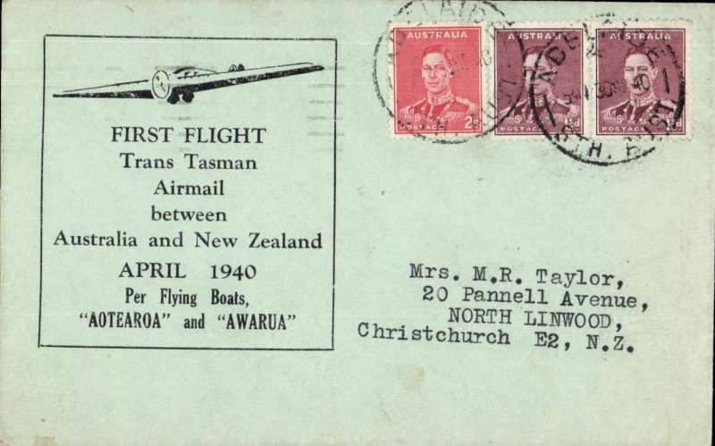 "(Australia) Wartime airmail, first regular Sydney-Auckland airmail, bs Christcurch 3/5, carried ""per flying boats ""Aotearoa"" and ""Awarua"", blue/grey TEAL souvenir cover,  correctly franked 5d for air to NZ, canc Adelaide cds. When Italy entered the war in June 1940 this service became the first leg of the 'all air' Pacific Clipper Service to GB via Hong Kong, San Francisco, New York and Lisbon. Image."
