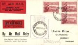 "(Australia) F/F Charleville to Brisbane, violet PMG rectangular cachet with Charleville cds applied to centre, b/s, red/black  ""Inaugural Flight ....."" and ""See?Western Queensland"" flight vignettes on front and a ""By Air Mail/Brisbane-Charleville etiquette"" verso (all three rated a great rarity by Mair), Facsimile signature of pilot, Capt. PH Moody, on front."