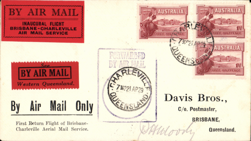 """(Australia) F/F Charleville to Brisbane, violet PMG rectangular cachet with Charleville cds applied to centre, b/s, red/black  """"Inaugural Flight ....."""" and """"See?Western Queensland"""" flight vignettes on front and a """"By Air Mail/Brisbane-Charleville etiquette"""" verso (all three rated a great rarity by Mair), Facsimile signature of pilot, Capt. PH Moody, on front."""