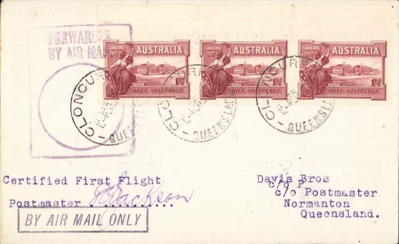 """(Australia) Qantas extension Cloncurry to Normanton, bs 1/7, franked 4 1/2d tied by violet rectangular """"Forwarded BY Air Mail"""" cachet. Typed """"Certified First Flight"""" and signed by postmaster C. Jackson, boxed 'By Air Mail Only' hs. Scarce item."""