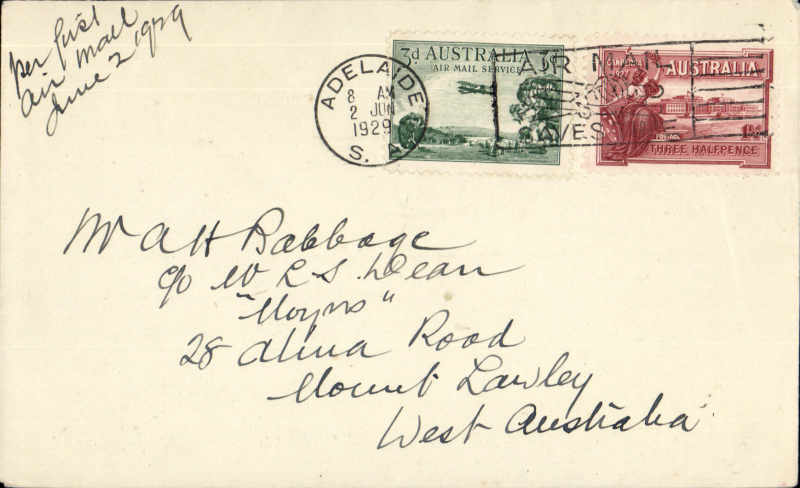 """(Australia) F/F Adelaide to Perth, franked 4 1/2d, ms """"per First Air Mail"""", Western Australian AW. No b/s's were applied to ordinary covers, see Eus 136."""