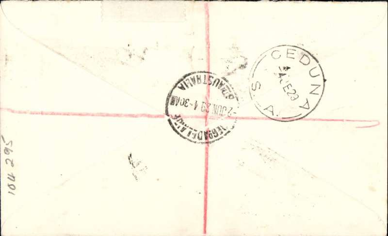 (Australia) First Australian Trans-Continental Aerial Mail, Adelaide to Ceduna, bs 4/6, registered (label) cover franked 7 1/2d franked 4 1/2d, red/white/blue airmail etiquette,  Backstamps were only applied to registered mail, Western Australian AW. Eu 137a. Scarce intermendiate.