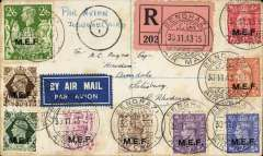 "(British Occupation of Italian Colonies ) WWII BOFIC (Cyrenaica) M.E.F., registered (label) censored airmail envelope to Saisbury, Southern Rhodesia, bs 19/1/44 franked 1943 MEF set to 2/6d (9 vals) canc 'BENGHAZI/30.11.43/AIR MAIL"" cds. ms ""PAR AVION jusqu'a CAIRO"" in blue pencil, black Egyptian 'M/1' in a circle censor.  In May 1943, at the end of the Desert War, Libya was placed under British (former Tripolitania and Cyrenaica) and French (former Fezzan) control. A philatelic envelope certified empty for purpose of censorship."