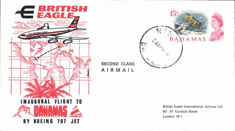(Bahamas) British Eagle F/F Boeing 707 Nassau to London, bs 4/5, souvenir cover franked 1/6d. Image.