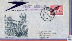 (South Africa) F/F Johannesburg to Botswana and return, attractive souvenir cover franked South Africa 3c canc Jo'burg cds on front and Bechuanaland Protectorate opt Republic of Botswana 3 1/2c canc Gaberone cds, outward and return cachets. Scarce item, rarely seen. Image.