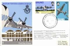 (Brunei) Brunei to Labuan, bs Anzuk FPO/24 Nov cds, franked FDI Muzium Tentera Udara Di-Raja set of two, tied by special flight cancel 15 Nov 72, RAF Museum cover. Brunei airmail covers are uncommon. Image.