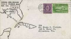(Cuba) F/F FAM 31, Havana to New Orleans, bs 1//1, cachet, Chicago and Southern Airlines. Image.