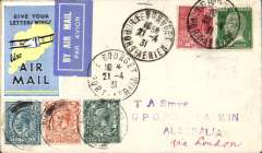 (France) Scarce mixed franking acceptance of French mail for carriage on the Imperial Airways Second Experimental Flight to Australia, bs Darwin 11/5, Smye cover franked France 80c canc Le Bourget 21-4-31 tying blue/white airmail etiquette in turn tying IAW pale blue/yellow/black 'Give Your/Letter Wings' vignette, and GB 2d, 4d, 10d each canc London FS Air/21 AP/31. No cachets used with the exception of Singapore. Super item. Image..