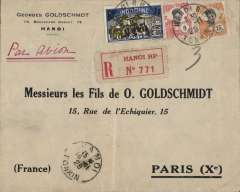 (French Indochina) Costes & Bellonte record attempt, Hanoi to Paris, b/s Paris Chargements and Paris Distribution arrival ds's, Goldschmidt registered (label) corner cover franked $1 21c canc Hanoi cds, Muller #29.
