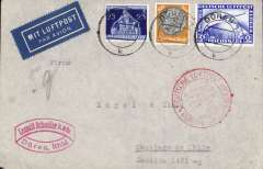 (Germany) Germany to Chile, bs Santiago 20/10, airmail etiquette cover franked 25pf, 100pf and 1928 2m Zeppelin blue (cat £48.00 used), canc Duren/Rhineland cds, red double ring 'Deutsche Luftpost/Europa-Sudamerika hs. Flight L195