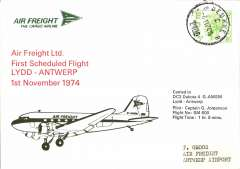 (Belgium) F/F Air Freight Ltd, Lydd to Antwerp, bs, souvenir cover. Image.