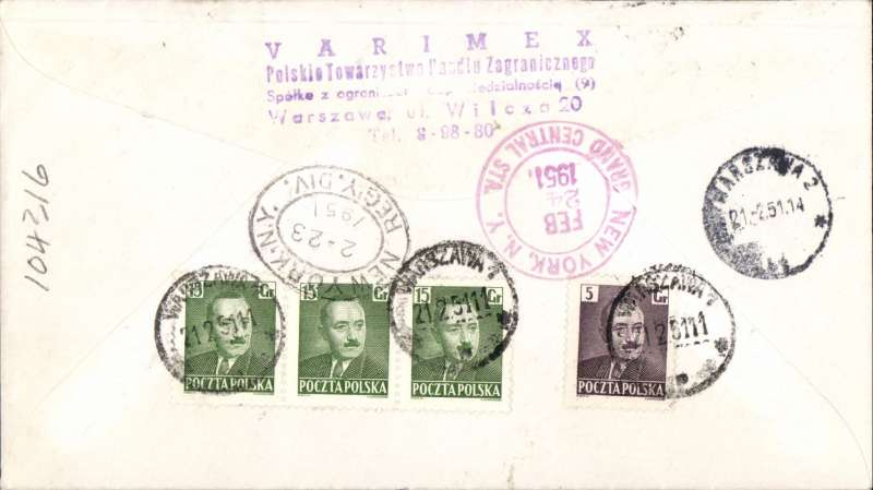 (Poland) Warsaw to New York, bs 24/2, registered (hs) cover franked 1951 UPU set of three with 'Grozsy' opts, also 50gr stamps verso.