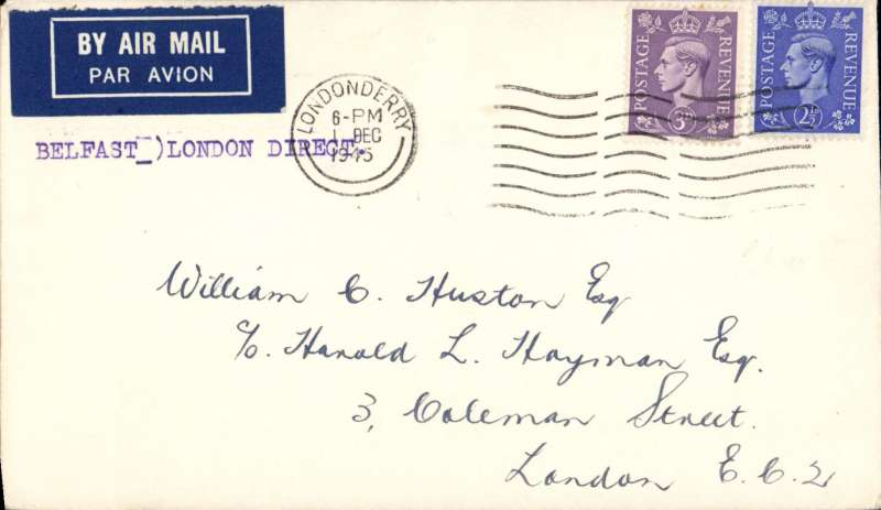 (GB External) 'Belfast to London Direct', airmail etiquette cover franked 5 1/2d, canc Londonderry cds.