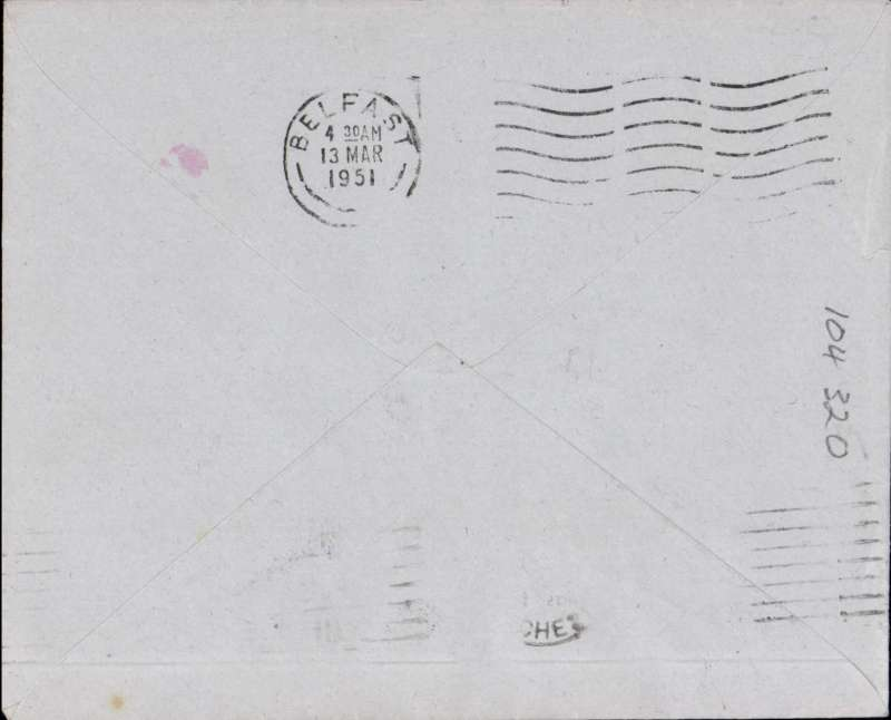(GB Internal) F/F Irish Sea Night mail, Manchester to Belfast,bs 13/3, franked 2 1/2d tied by boxed violet rectangular 'Irish Sea Night Air Mail Services' flight cachet, BEA.
