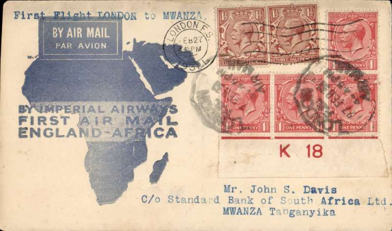 (GB External) Imperial Airways F/F London to Mwanza, bs 7/3, flown on inaugural England-East Africa service, blue/white souvenir 'Map' cover, franked 7d, violet circular 'Imperial Airways/House/London' hs verso.