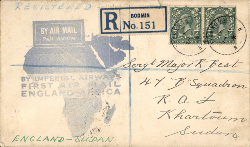 (GB External) Imperial Airways F/F London to Khartoum, bs 7/3, flown on inaugural England-East Africa service, blue/white souvenir 'Map' cover, franked 8d, violet circular 'Imperial Airways/House/London' hs verso.