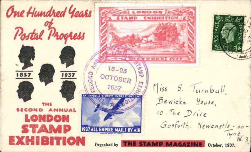 (Ephemera) First day London Stamp Expo, souvenir cover franked 1/2, red/white Expo and IAW blue.white '1937 All Empire Mails By Air' vignettes.