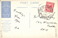(GB Internal) Apex International Air Post Exhibition, special souvenir PPC with repro photo of First Transatlantic Air Stamp (Newfoundland), franked 1d canc official Exhibition postmark 10 May 34.