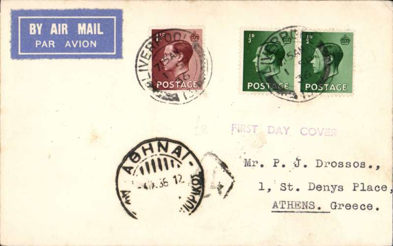 (GB External) Liverpool to Athens, 4/9 arrival ds front and verso, airmail etiquette PC franked FDI 1 12d and 1/2d x2 KE VIII, fine.