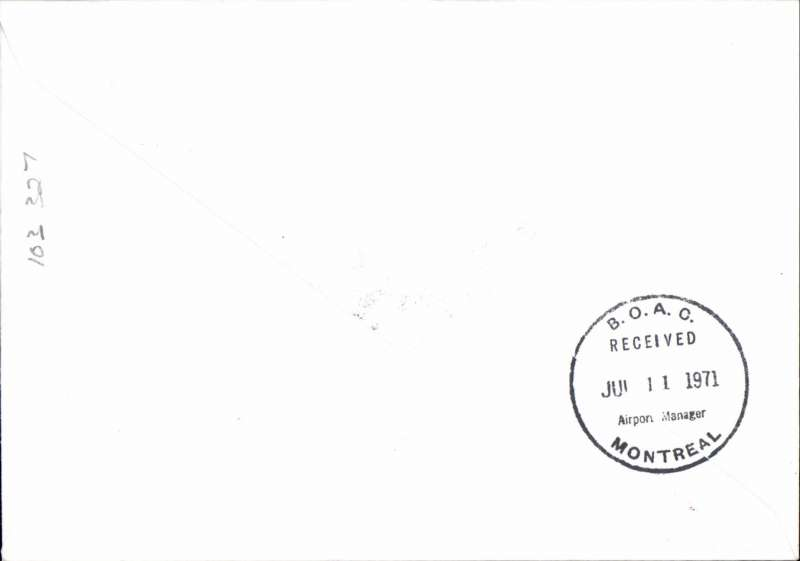 (GB External) First BOAC 747 flight, London-Montreal, bs 11/7, souvenir cover franked  7 1/2d.