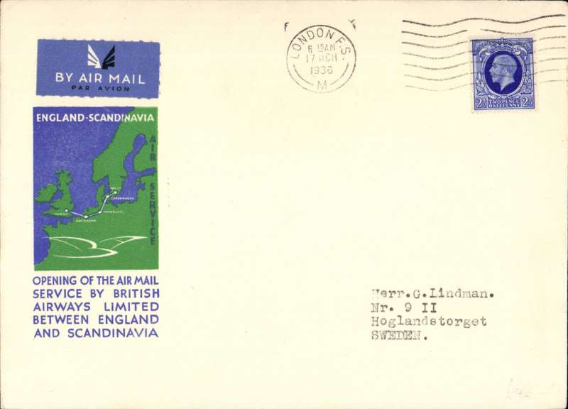 (GB External) British Airways, New England -Scandinavia service, London to Malmo, b/s 18/3, blue/green/cream souvenir cover franked 2 1/2d canc London cds.
