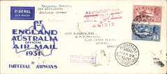 "(Burma) Scarce Rangoon to Athens, 10/5 arrival ds's front and verso, London, bs 15/5 and IAW clock receiver, carried on the Return of 1st Experimental Flight to Australia, Imperial Airways official long cover, franked 15annas, good strike violet boxed ""First Airmail Burma-England"" cachet, red 'biplane' arrival cachet, typed 'Per Airoplane/Southern Cross'. Image. Only 20 flown."