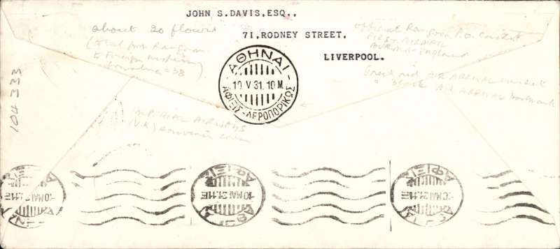 """(Burma) Scarce Rangoon to Athens, 10/5 arrival ds's front and verso, London, bs 15/5 and IAW clock receiver, carried on the Return of 1st Experimental Flight to Australia, Imperial Airways official long cover, franked 15annas, good strike violet boxed """"First Airmail Burma-England"""" cachet, red 'biplane' arrival cachet, typed 'Per Airoplane/Southern Cross'. Image. Only 20 flown."""