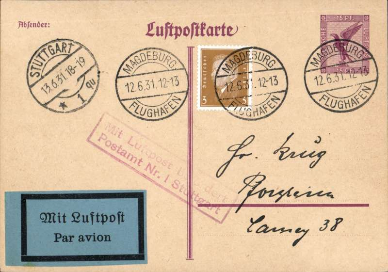 (Germany) Airmail card, Magdeburg to Stuttgart 13/6/arrival cds on front, franked 18pf canc Magdeburg/Flughafen cds, red framed 'Mit Luftpost Befordert/Postampt Nr.1 Suttgart' receiver. Extra fine, image..