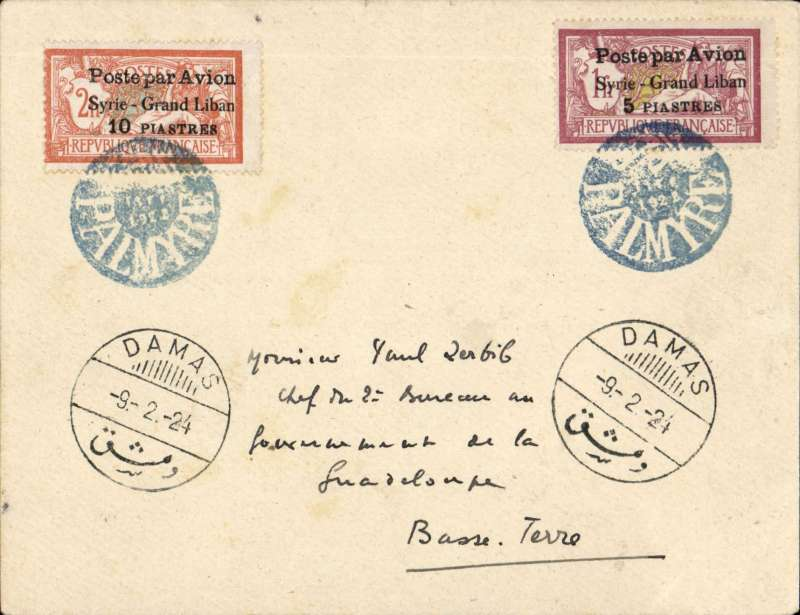 (Syria) Military flight Palmyre to Damascus, 9/2/24 arrival ds on front, franked air surcharges 'Poste par Avion/Syrie-Grand Liban/5P' and 'Poste par Avion/Syrie-Grand Liban/10P', both tied by circular pale blue/white 'Palmyre' postmark. Stamps catalogue £60.00 used. Fine, see image.