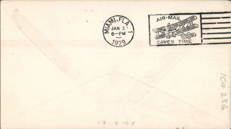 (Bahamas) F/F, Nassau-Miami, bs 2/1, printed souvenir cover franked 2 1/2d, red two line cachet 'By First Air Mail/To Miami' cachet, Pan Am. Image.