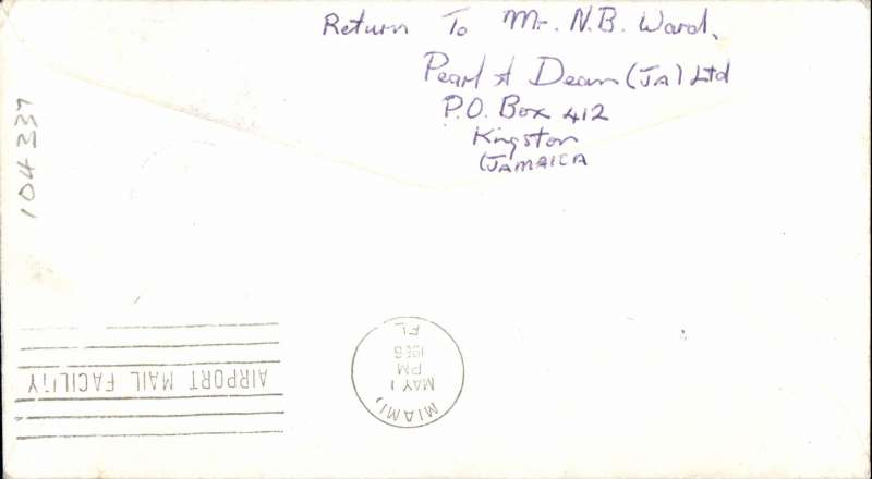 (Jamaica) F/F Kingston to Miami, plain cover franked 1/-, large violet oval cachet., Air Jamaica. Image.